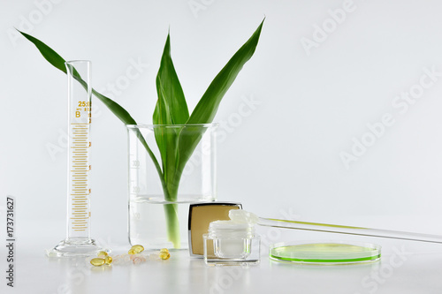 In de dag Spa Natural skincare, Organic plant extract pharmaceutical cosmetics, Equipment and science experiments, Healthcare research and development concept.