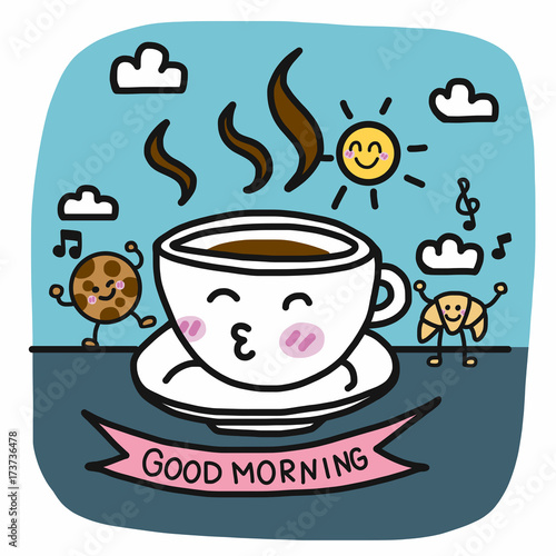 Good morning coffee cup and breakfast friend cartoon vector illustration doodle style