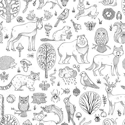 Materiał do szycia Wektor doodles leśnych jednolity wzór.