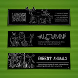 Vector set of horizontal woodland banners.