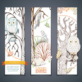 Vector set of forest vertical banners.
