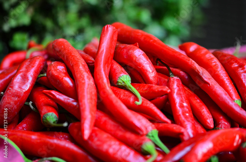 Foto op Canvas Hot chili peppers paprika close up - fresh vegetables