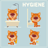 Collection isolated of kitten cat in cartoon style for rules of child hygiene. Set of funny kitten is hygiene: showering, washing hands, brushing her teeth.