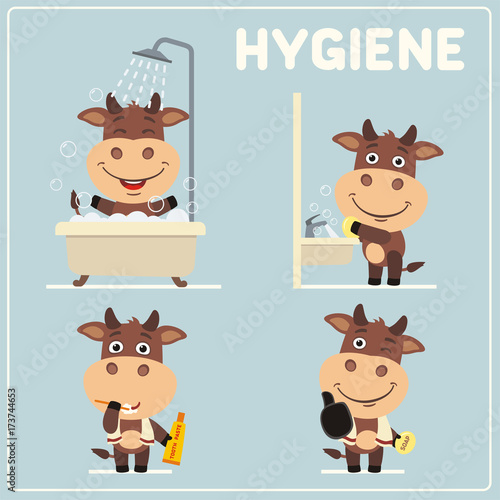 Collection isolated of bull in cartoon style for rules of child hygiene. Set of funny bull is hygiene: showering, washing hands, brushing her teeth.