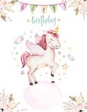 Isolated cute watercolor unicorn invitation card. Nursery unicorns illustration. Princess rainbow unicorns poster. Trendy pink cartoon horse. - 173745639