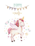Isolated cute watercolor unicorn clipart. Nursery unicorns illustration. Princess rainbow unicorns poster. Trendy pink cartoon horse. - 173746218