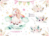 Isolated cute watercolor unicorn clipart. Nursery unicorns illustration. Princess rainbow unicorns poster. Trendy pink cartoon horse. - 173746488