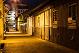 Urban city alley at night in asia