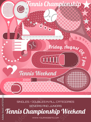 In de dag Abstractie Art Tennis Championship Poster