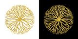 Concept gold glitter tree branch circle symbol