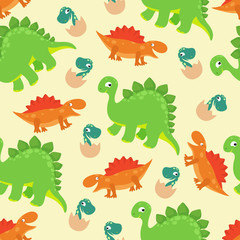 Cartoon baby dinosaur vector seamless pattern for girl fashion design