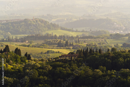 Spoed canvasdoek 2cm dik Toscane Evening landscape. Tuscany, Italy