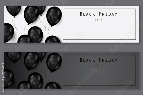 Black friday sale deals - horizontal vector balloons banner ( shopping , promotion )