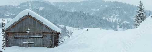 Foto op Canvas Lichtblauw Winter Carpathian Mountains landscape.