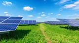 Solar panel on blue sky background - 173774401