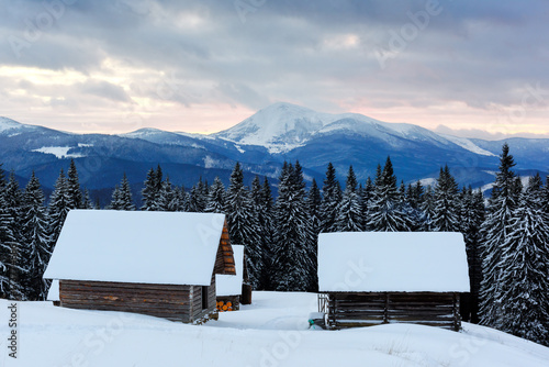 Fotobehang Winter Fantastic landscape with snowy house