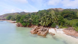 Panoramic aerial view of Praslin mountains and ocean - 173776219