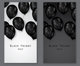 Black friday sale deals - vertical vector balloons banner ( shopping , promotion ) - 173782645