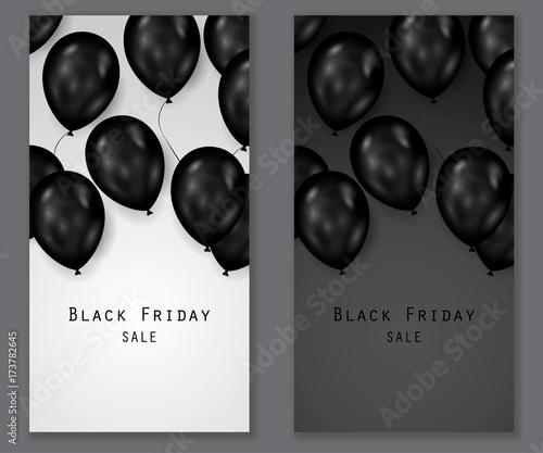 Black friday sale deals - vertical vector balloons banner ( shopping , promotion )