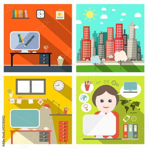 Creative Business Backgrounds Set with Computers and City. Vector Flat Design Infographics Backdrops Layout.