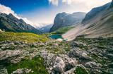 Unusual alpine lake in the National Park Tre Cime di Lavaredo (Three peaks of Lavaredo, Drei Zinnen). Trentino Alto Adidge, Dolomites, Alps, Italy