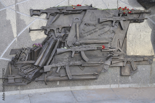Fragment of the monument to Lt. Gen. Mikhail T. Kalashnikov, designer of the AK-47, the Soviet rifle that has become the world's most widespread assault weapon. Moscow, Russia