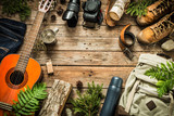 Camping or adventure trip scenery concept (top view) - 173803096