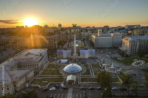 Deurstickers Kiev View of Independence Square (Maidan Nezalezhnosti) in Kiev, Ukraine