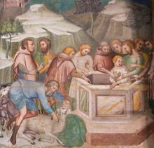 "Постер, картина, фотообои ""Fresco in San Gimignano - Jesus thrown in the well"""