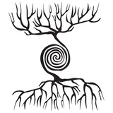 Tree symbol with roots and a spiral