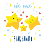 Family of cute stars in the sky and a hand-written inscription. Cartoon dad, mom and their baby. Vector illustration. - 173825095