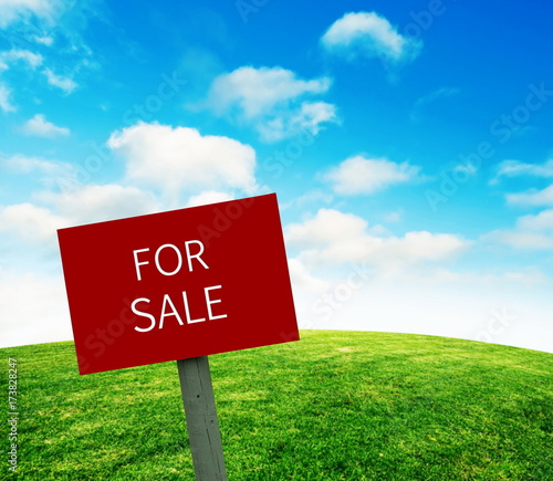 For sale sign on grass lawn