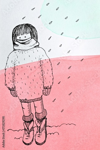 Cute lovely sad girl on rainy autumn day illustration. Cartoon ink character design for kids - 173829298