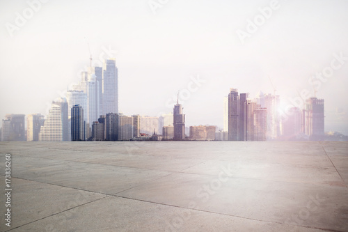 Urban landscape road with city background