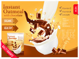 Instant oatmeal with chocolate advert concept. Milk flowing into a bowl with grain and chocolate. Vector. - 173836488