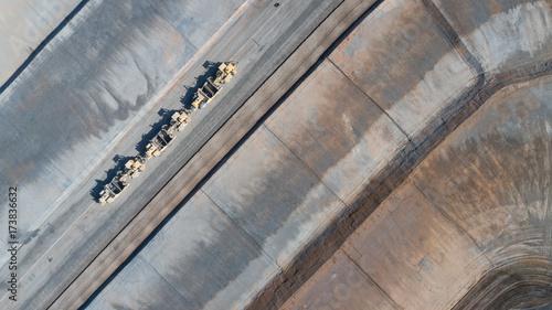 Fotobehang Trekker Aerial View Of Tractors On A Housing Development Construction Site.