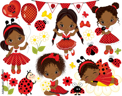 Vector Set with Cute Little African American Girls and Ladybugs