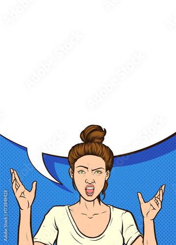 Fotobehang Pop Art Angry woman with large speech bubble. Vector pop art comic book illustration. Some elements on separate layers.