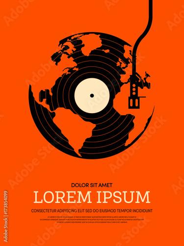 Fotobehang Vintage Poster Music retro vintage poster background