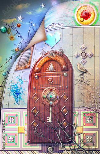 In de dag Imagination Porta gotica e misteriosa nel paese delle meraviglie