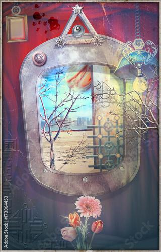 Foto op Plexiglas Imagination Sfondo gotico con finestra surreale,lampada e paesaggio