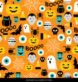 Seamless pattern of various cute halloween icons. For web backgrounds, fabrics, wrapping paper, decoration. - 173866032