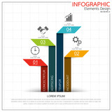Infographic business timeline process chart template. Vector modern banner used for presentation and workflow layout diagram, web design. Abstract elements of graph options. - 173877401