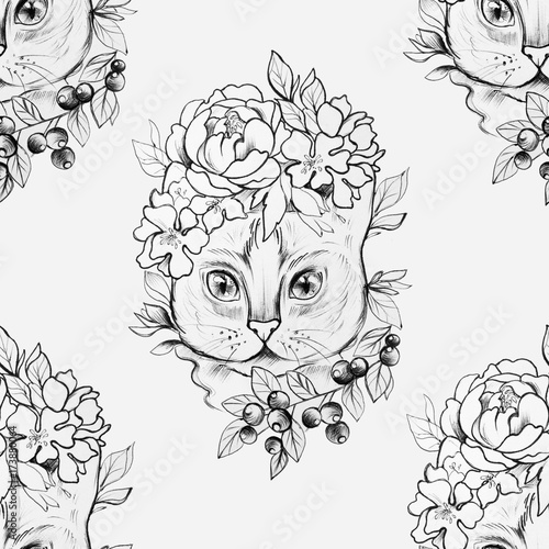 Seamless drawing of a cat head in beautiful flowers on a white background. - 173880064