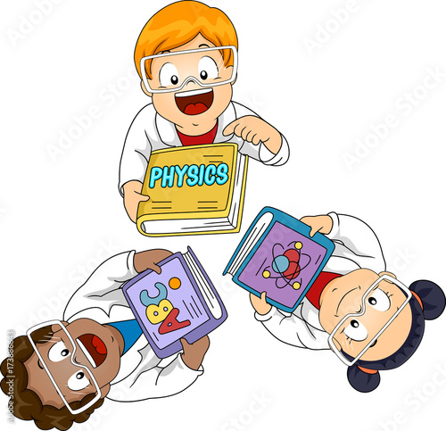 Kids Physics Books Lab Gowns Illustration © Lorelyn Medina