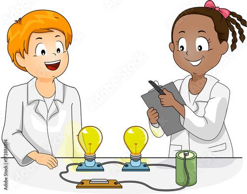Kids Science Physics Experiment Illustration