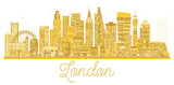 London City skyline golden silhouette.