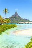 View on Mount Otemanu through turquoise lagoon and overwater bungalows on the tropical island Bora Bora, Tahiti, French Polynesia, Pacific ocean. - 173892432