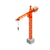 Tower crane. Isolated on white background. 3D Vector illustration. Isometric. - 173894672