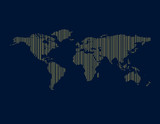 Abstract striped world map. Vector outline illustration.